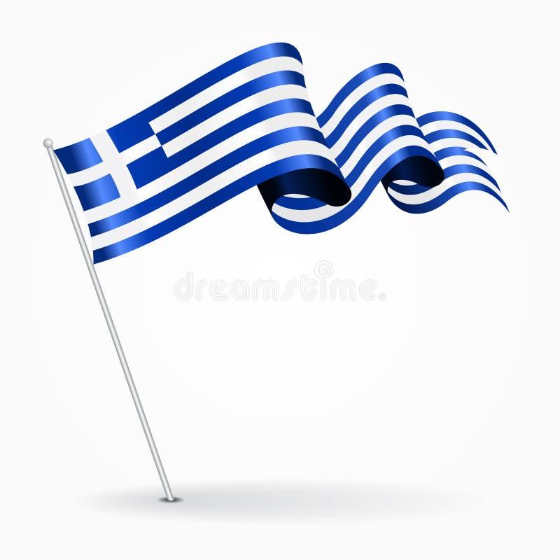 希腊别针波浪旗子 也corel凹道例证向量 皇族释放例证