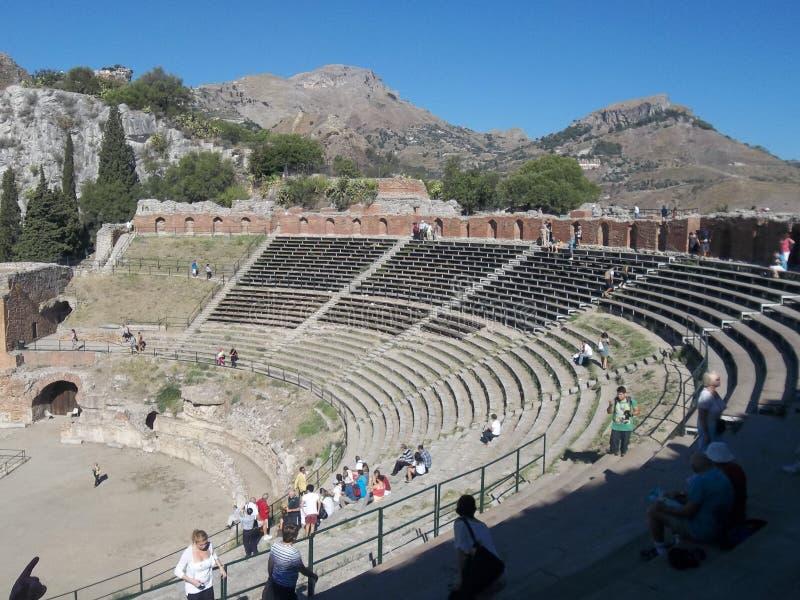 希腊剧院。全景。 免版税图库摄影