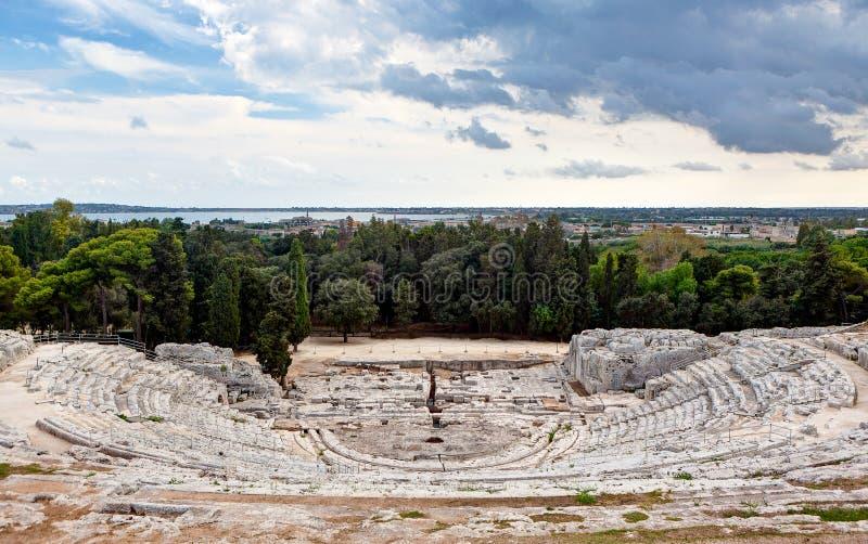 希腊剧院,西勒鸠斯,西西里岛,意大利 图库摄影