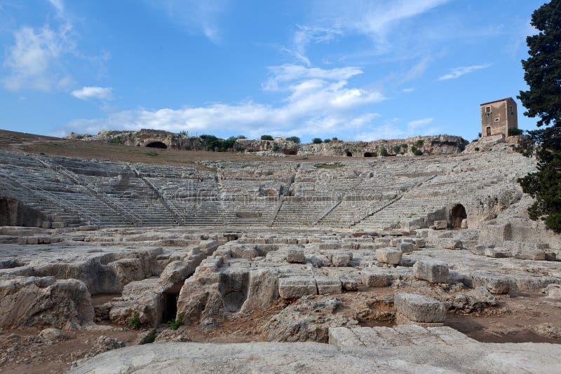 希腊剧院,西勒鸠斯,西西里岛,意大利 库存照片