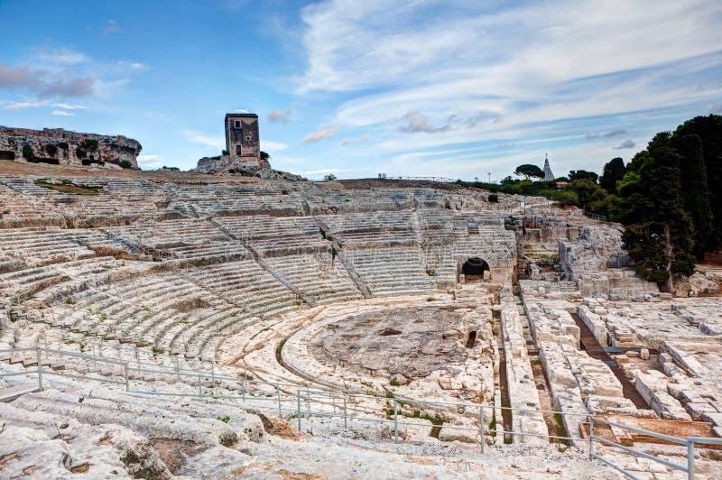 希腊剧院,西勒鸠斯,西西里岛,意大利 库存图片