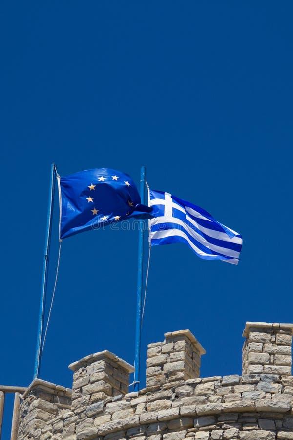 希腊和欧盟旗子  库存照片