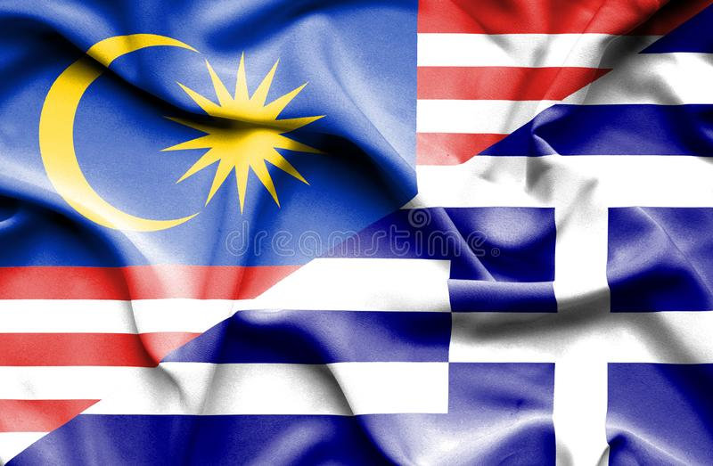 希腊和马来西亚的挥动的旗子 向量例证