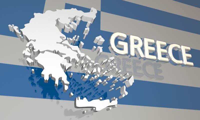 希腊国家国家地图欧洲旗子 向量例证