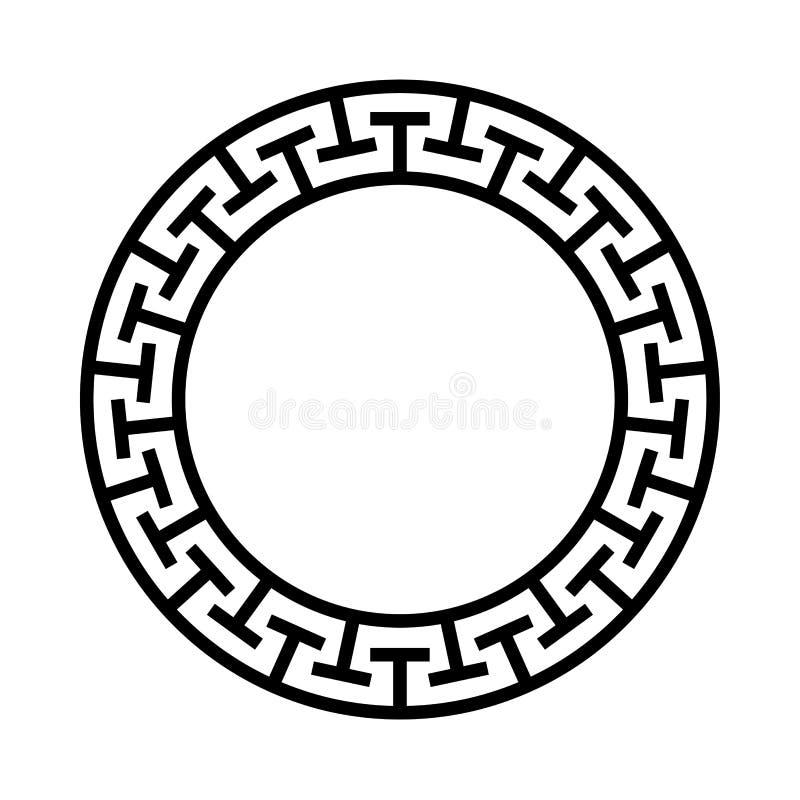 希腊圈子装饰品 与黑迷宫框架的圆的希腊象 种族传染媒介例证 与权威的河曲古色古香的圆环 向量例证