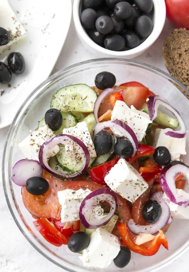 希腊土气菜沙拉用希脂乳 库存图片
