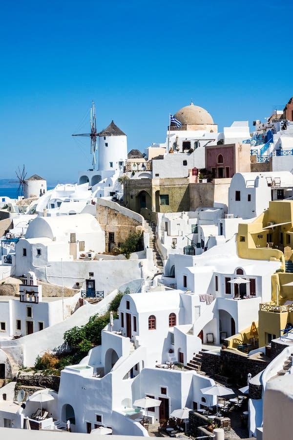 希腊圣托里尼的伊亚村 库存照片
