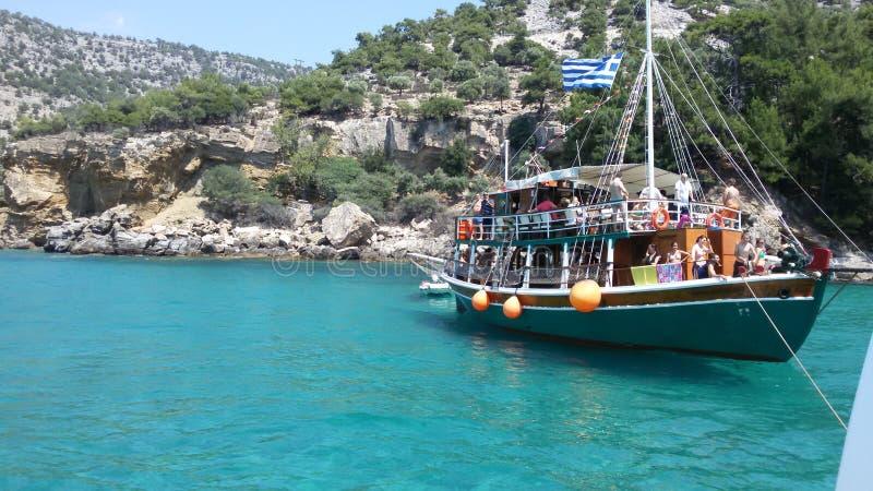 希腊在希腊盗版小船假日 免版税库存图片