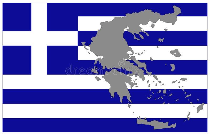 希腊地图和旗子-位于南欧的国家 皇族释放例证