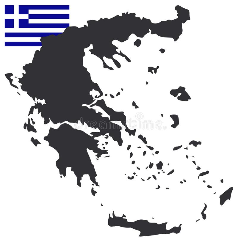 希腊地图和旗子-位于南欧的国家 向量例证