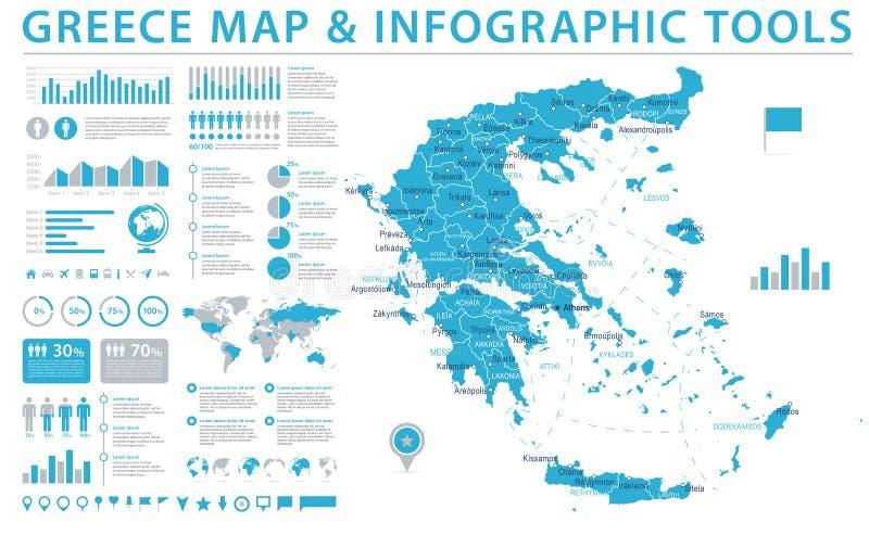 希腊地图-信息图表传染媒介例证 皇族释放例证