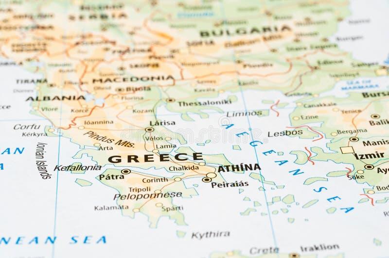 希腊地图细节 免版税库存图片