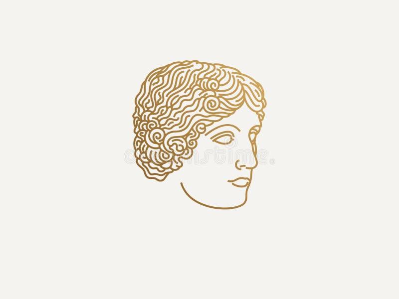 希腊女孩商标 免版税库存照片