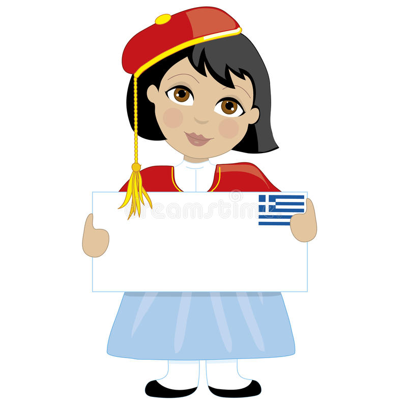 希腊女孩标志 库存例证