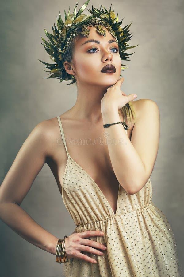 希腊女神的妇女 库存照片