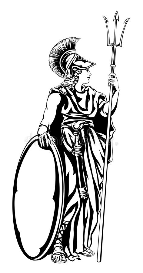 神话希腊女神雅典娜的例证有三叉戟矛和盾的 id.