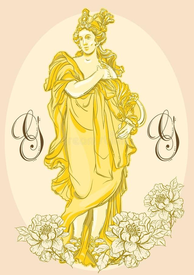 希腊女神,古希腊的神话英雄 被隔绝的手拉的美丽的传染媒介艺术品 古典主义 向量例证