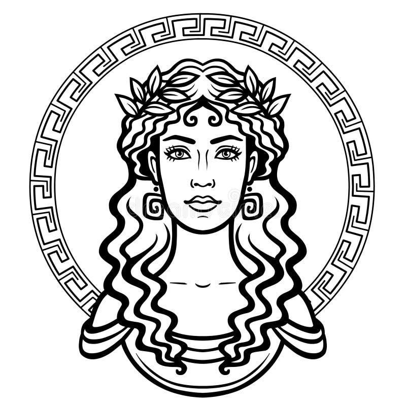 年轻希腊妇女的线性画象有一种传统发型的 装饰的圈子 皇族释放例证
