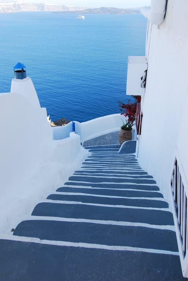 希腊家庭santorini台阶 图库摄影
