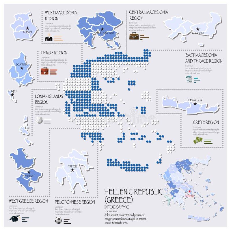 希腊希腊共和国Infographic的小点和旗子地图 向量例证