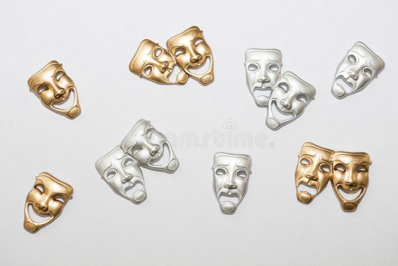 希腊戏曲面具 库存图片