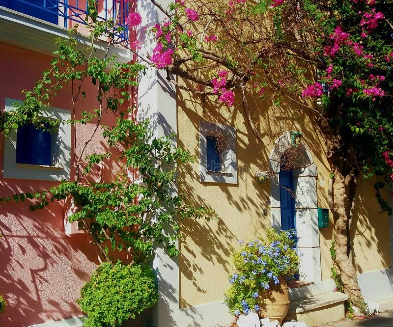 希腊房子在夏天 库存照片