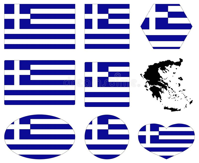希腊旗子和地图-国家在欧洲 库存例证