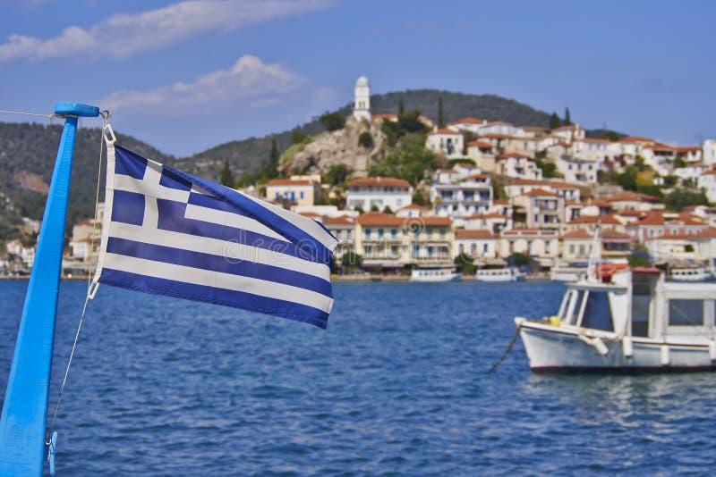 希腊旗子和海岛视图 免版税图库摄影