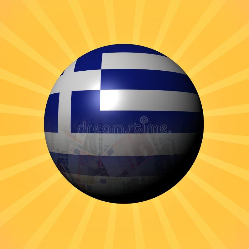 希腊旗子在镶有钻石的旭日形首饰的例证的欧元球形 皇族释放例证