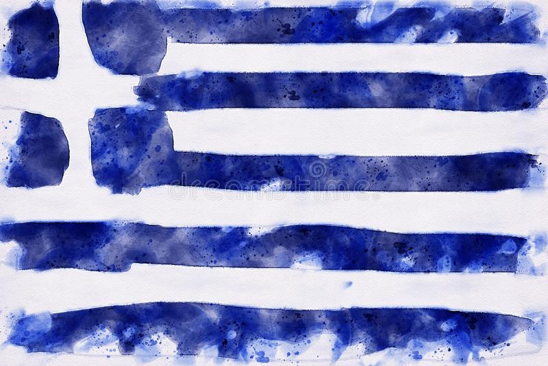希腊旗子的水彩画 向量例证