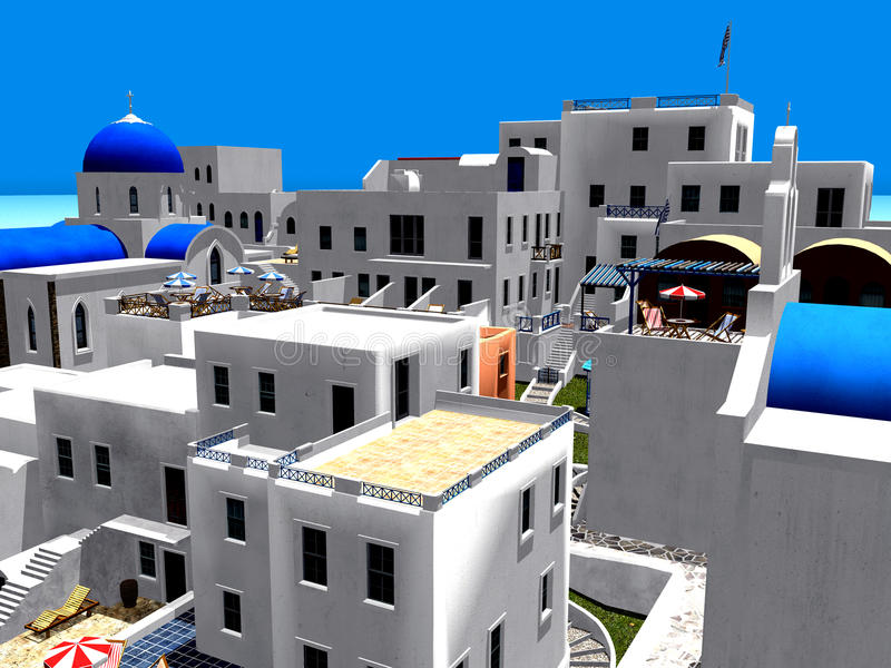 Download 希腊村庄 库存例证. 插画 包括有 正统, 圆屋顶, 田园诗, 布琼布拉, 城市, 海岛, cyclades - 22358011