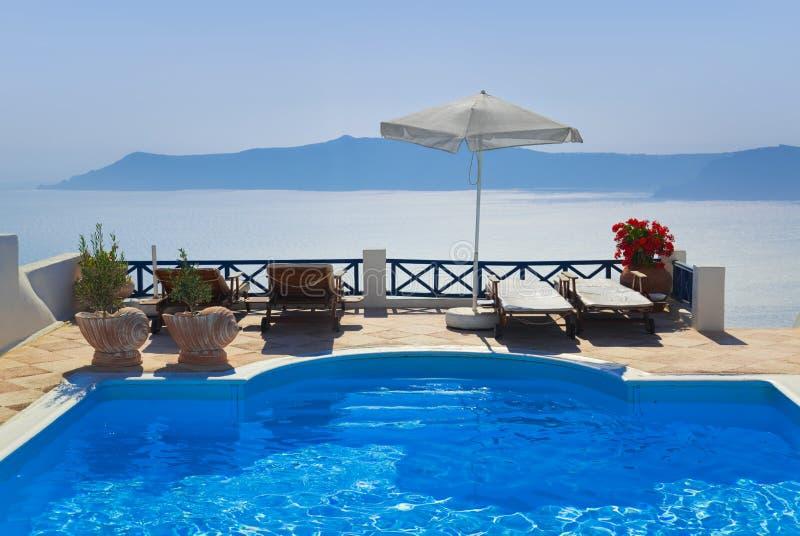 希腊池santorini水 免版税图库摄影