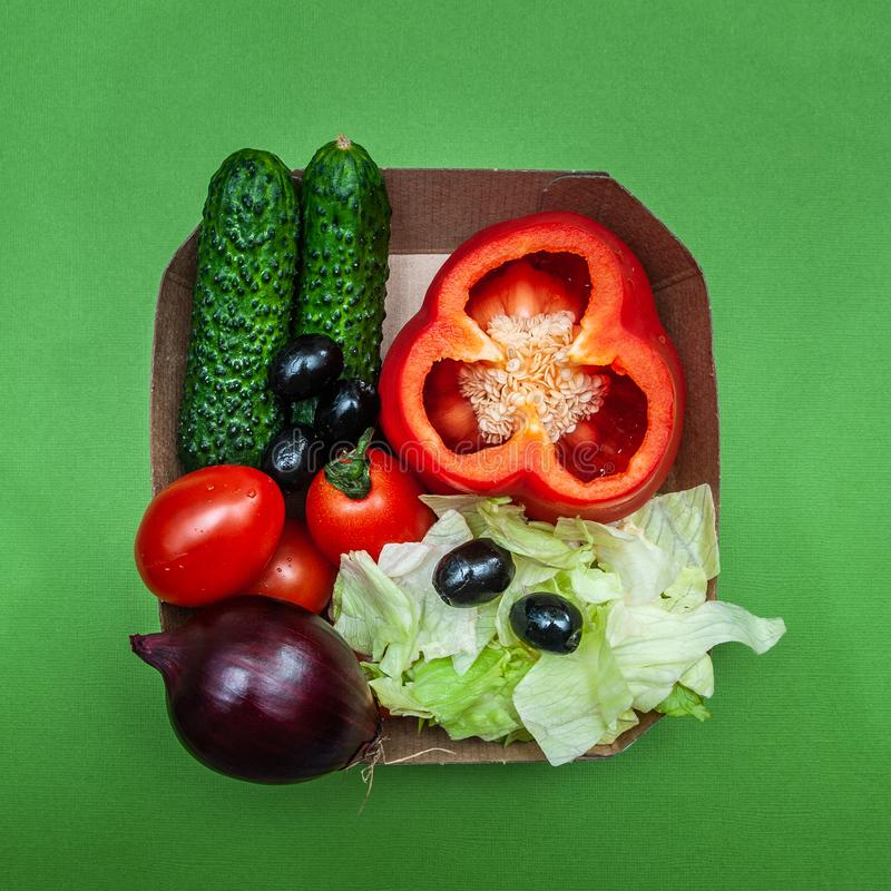 希腊沙拉的成份,新鲜蔬菜, 图库摄影