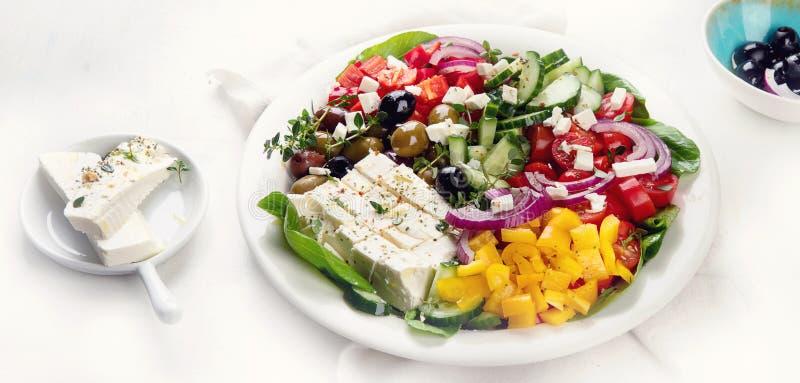 希腊沙拉 吃健康 免版税库存照片