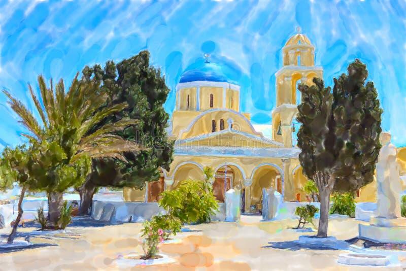 希腊海岛圣托里尼镇名字Ia的水彩例证 库存例证