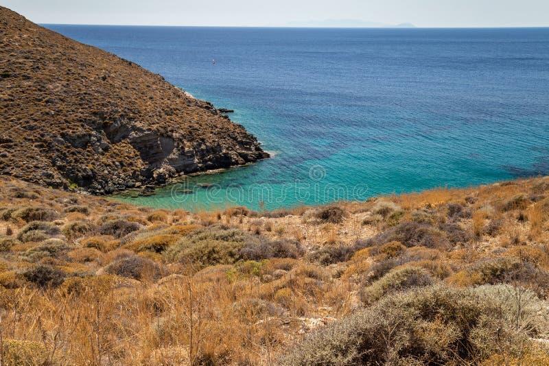 希腊海岛的海岸 免版税图库摄影