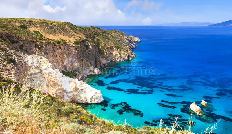 希腊海岛芦粟,基克拉泽斯美好的风景  免版税库存照片