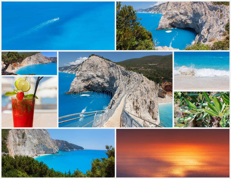 从希腊海岛莱夫卡斯州的照片拼贴画 免版税图库摄影
