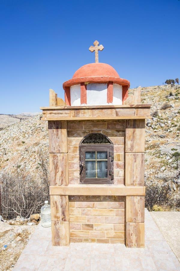 希腊海岛/希腊,小教堂风景视图 免版税库存图片