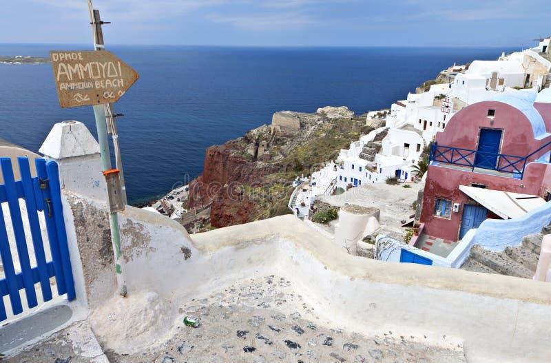 希腊海岛oia santorini村庄 库存照片