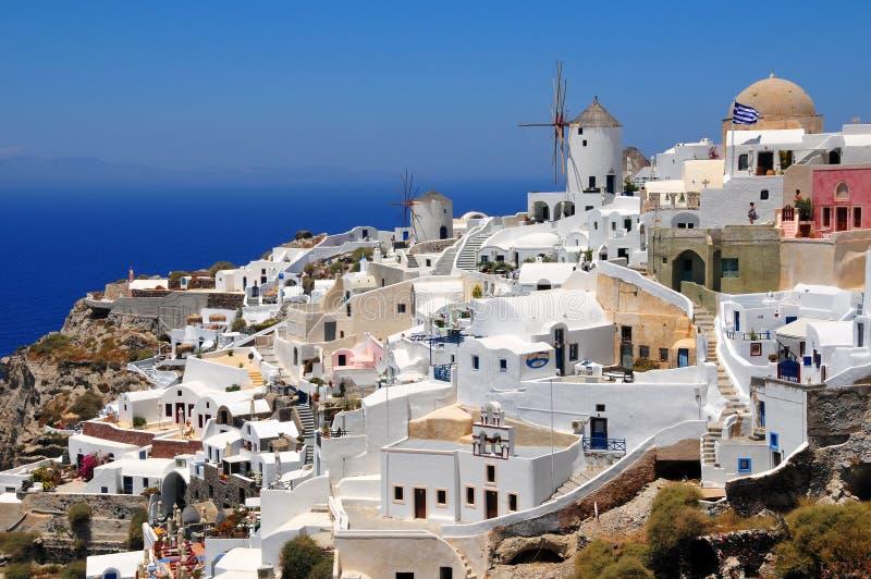 希腊海岛oia santorini村庄 免版税图库摄影