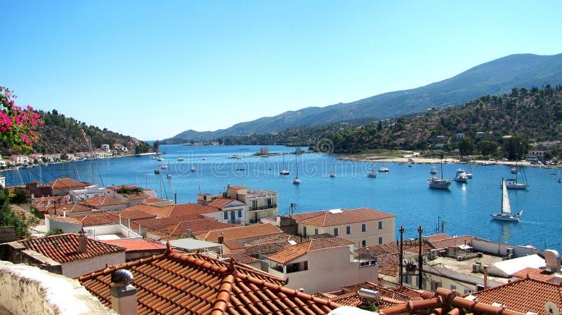 希腊海岛poros海运视图 免版税库存照片
