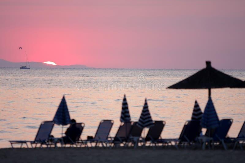 希腊海洋日出 库存图片