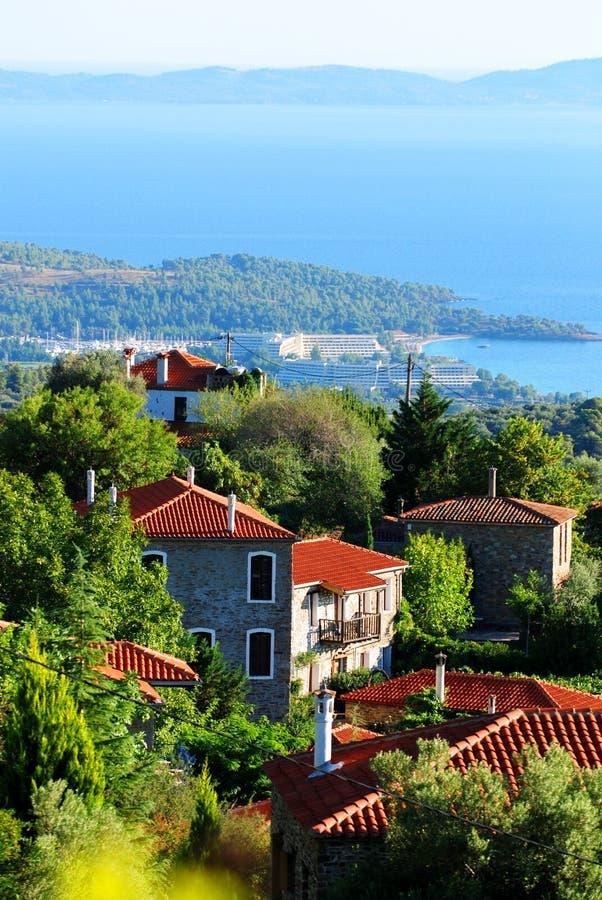 希腊海滨村庄 免版税库存图片