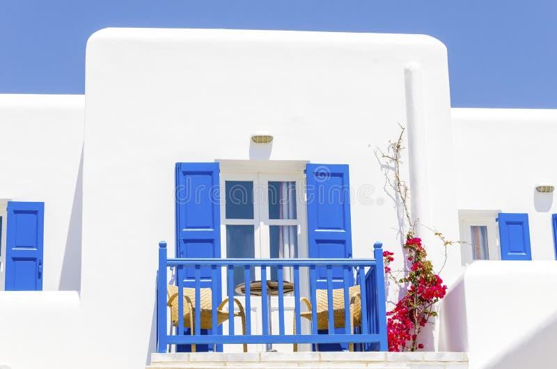 希腊海滩公寓,米科诺斯岛,希腊 库存图片