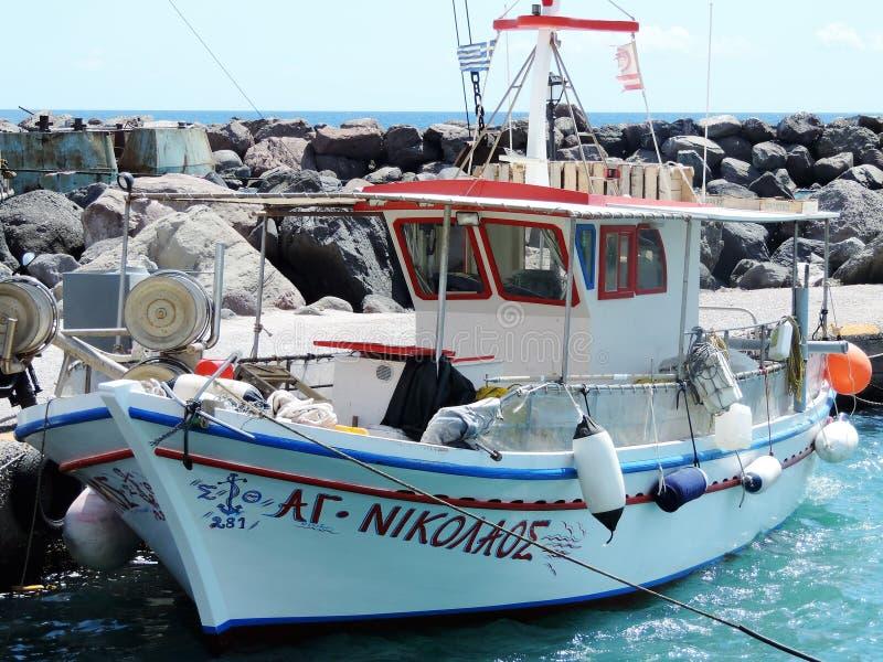 希腊渔船 库存图片