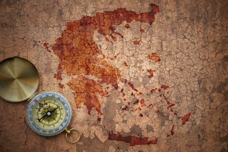 希腊的地图一张老葡萄酒裂缝纸的 库存照片