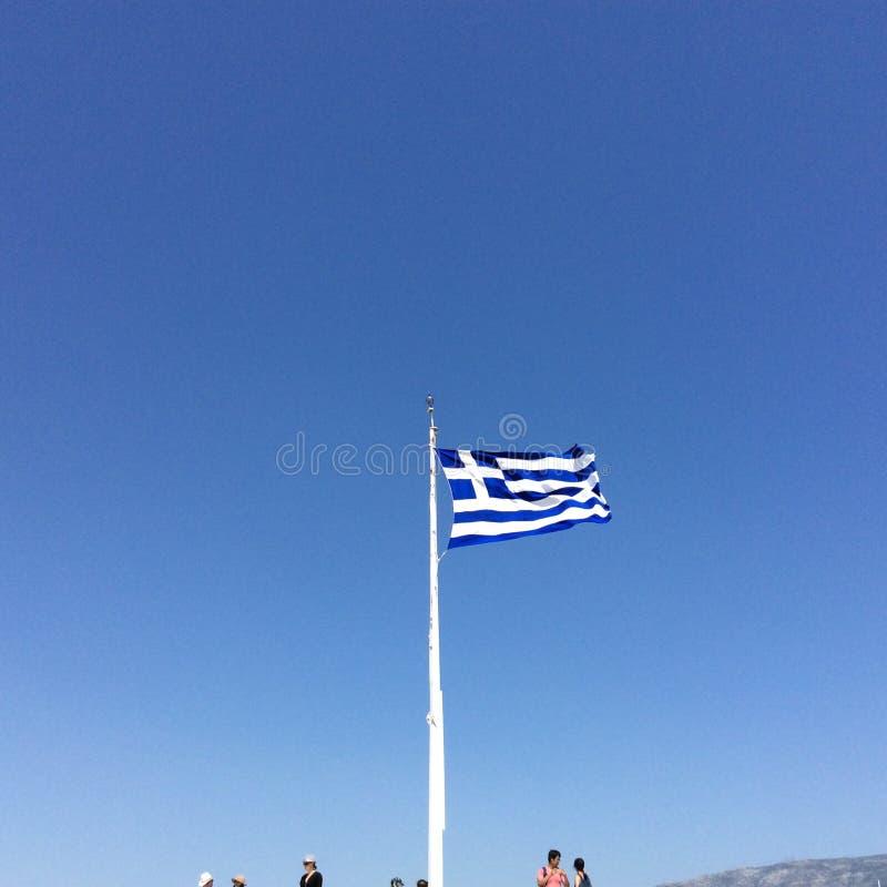 希腊的旗子在雅典 免版税库存照片