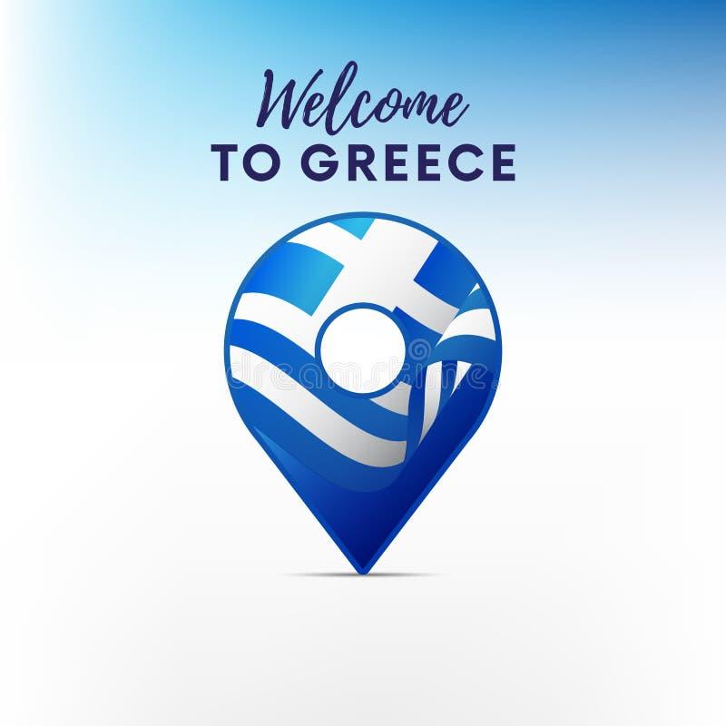 希腊的旗子地图尖形状的  欢迎的希腊 也corel凹道例证向量 皇族释放例证
