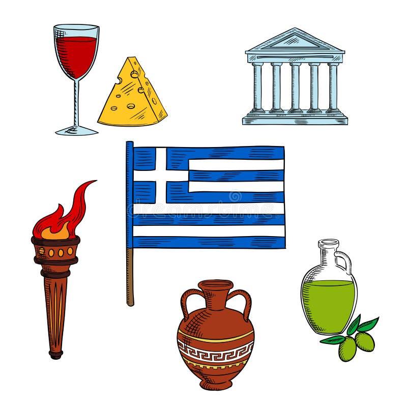 希腊的标志旅行设计的 库存例证